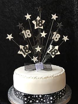 Karen\u0027s Cake Toppers 18 Ans Noir et Blanc Star gâteau d\u0027anniversaire Plus 1  x