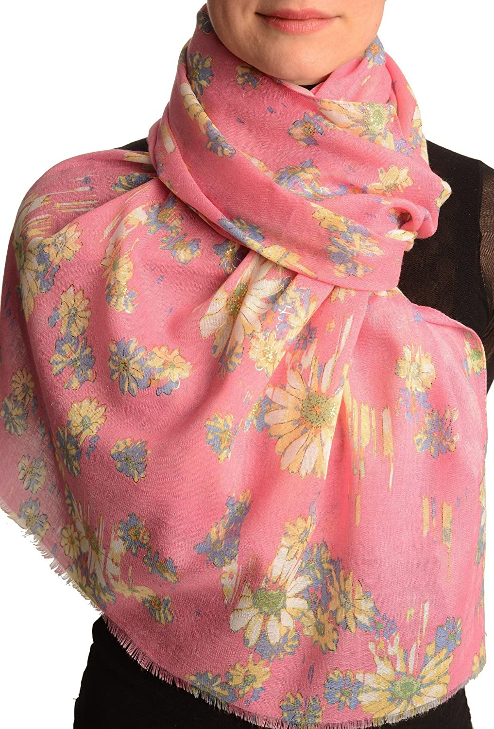 Pink With Gold Trim Daisies Scarf - Scarf