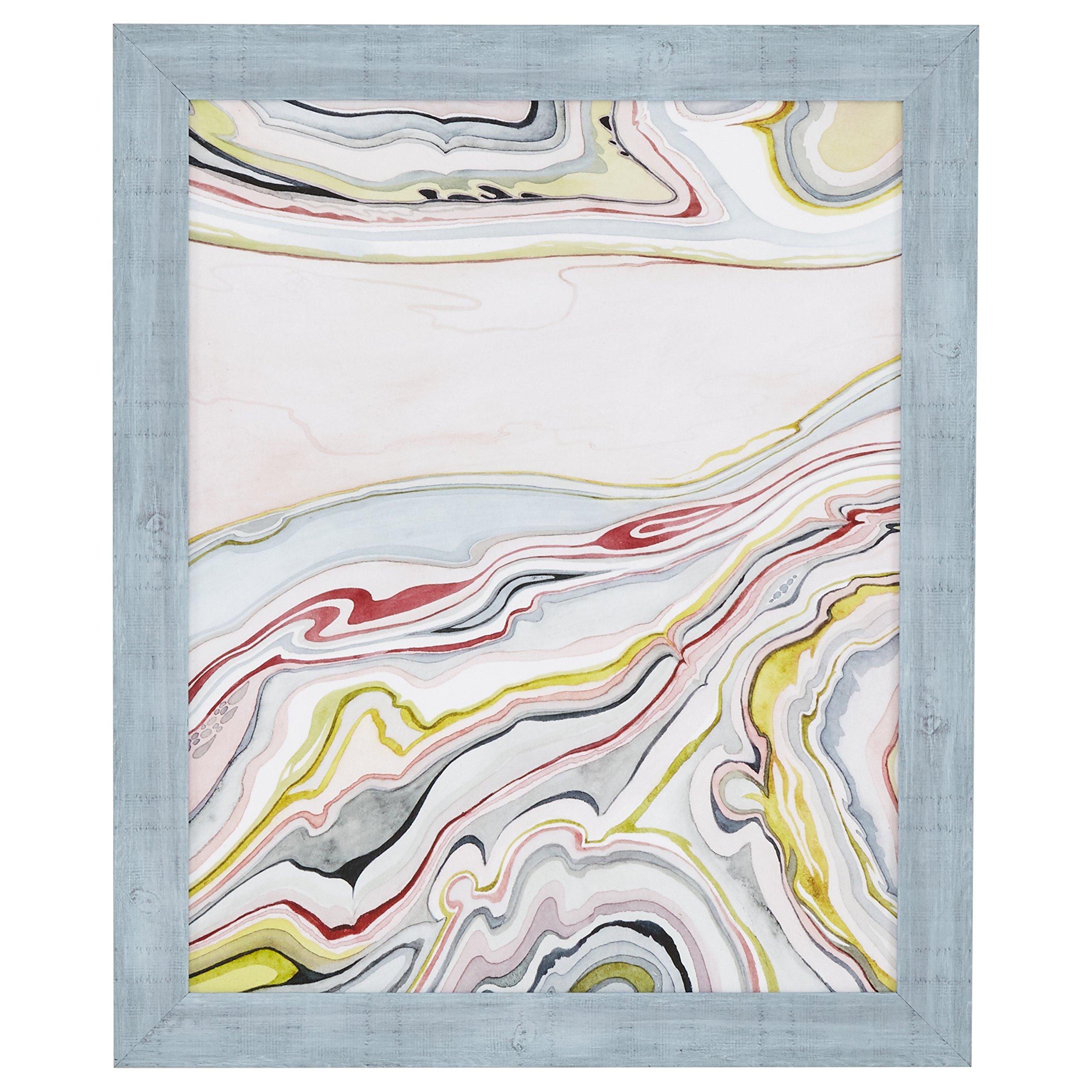 "Amazon Brand – Rivet Mid Century Modern Marbled Abstract Geode I Print Framed Wall Art Decor - 19"" x 23"" Frame, Cool…"