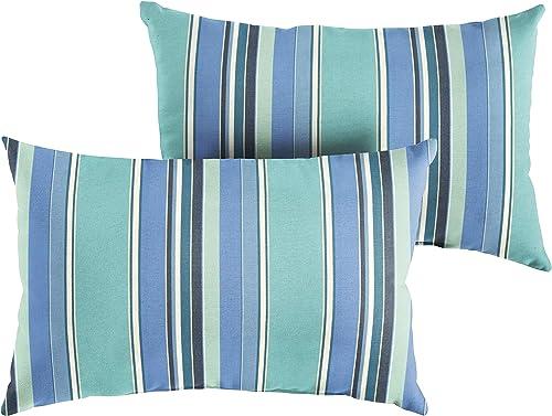 Mozaic AMZ162001SP Sunbrella Berenson Tuxedo Outdoor Pillow Set, 13 x 20