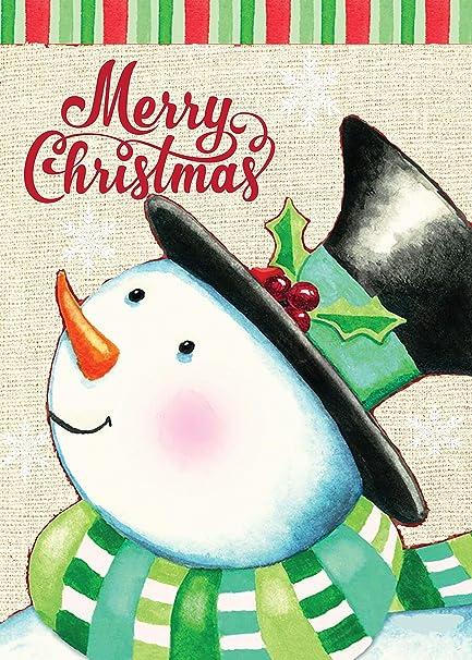 """OTSUN Christmas Winter Snowman Burlap Garden Flag Double Sided 12x18/"""""""