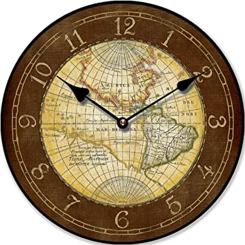 Horloge Murale Carte Du Monde Ancienne Nostalgie 30 Cm Tinas Collection