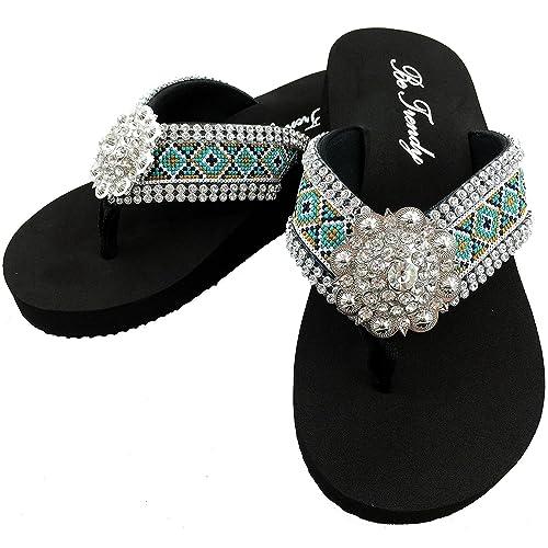 ed11584acbfeb9 Western Peak Women s Aztec Design Full Rhinestones Round Concho Diamond  Black Brown Turquoise Flip Flop Sandals