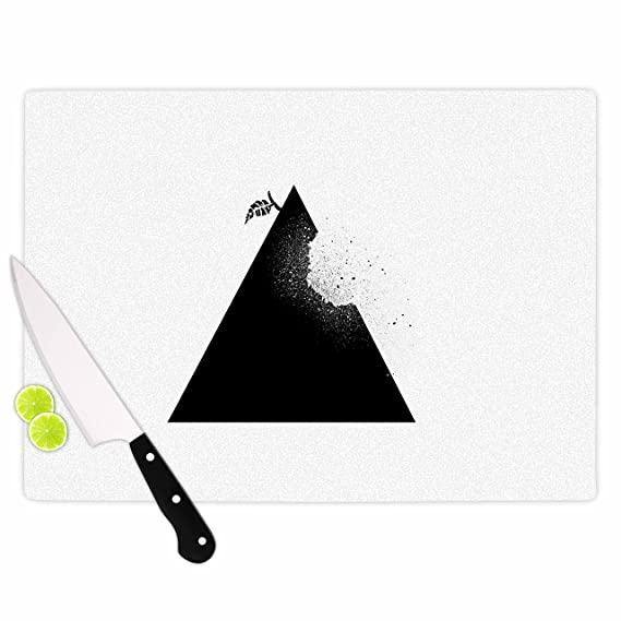 KESS InHouse BarmalisiRTBApple Pyramid Black White Cutting Board Multicolor 11.5 x 15.75