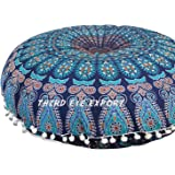 Third Eye Export - 32 In Mandala Barmeri Large Round Floor Pillow Cover Cushion Meditation Seating Ottoman Throw Cover Hippie Decorative Zipped Bohemian Pouf (Blue)