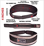 Xtrim Dura Belt -MEN GYM FITNESS WEIGHT LIFTING BELT Foam Padded Leather Contoured Weightlifting Belt with Moisture wicking Lining and Steel Roller Adjuster- WIDE 4 INCHES WIDTH - SATISFACTION GUARANTEED !