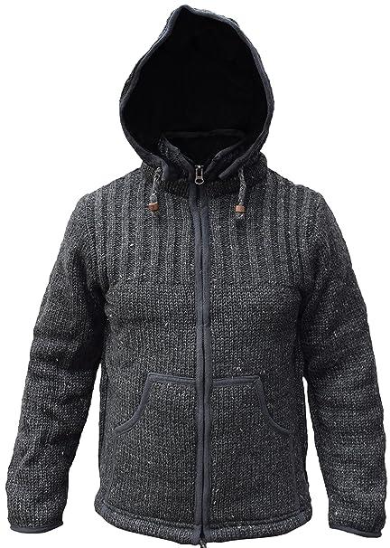 Little Kathmandu Chaqueta de lana de hombre con interior de ...