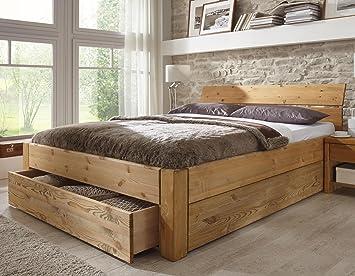 Stilbetten Bett Holzbetten Massivholzbett Tarija Mit Stauraum Eiche Geolt 180x200 Cm Amazon De Kuche Haushalt