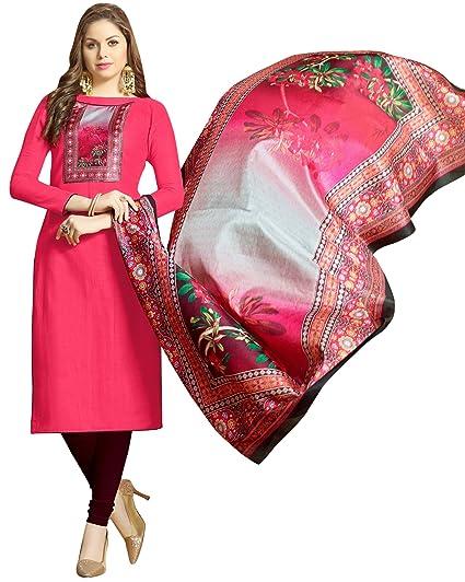 c3d90faec6 Blissta Pink Slub cotton Straight unstitched salwar suit with digital print  nack and dupatta in manipuram silk: Amazon.in: Clothing & Accessories