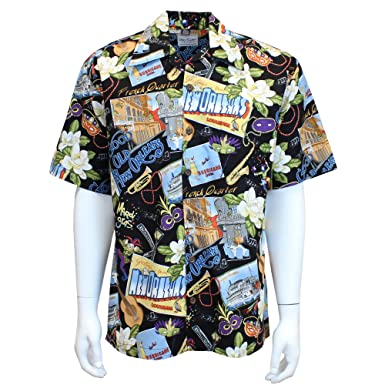 721fe5aa1f7 David Carey New Orleans Camp Shirt – Black – Button Up Collared Short  Sleeve Mechanic Camp