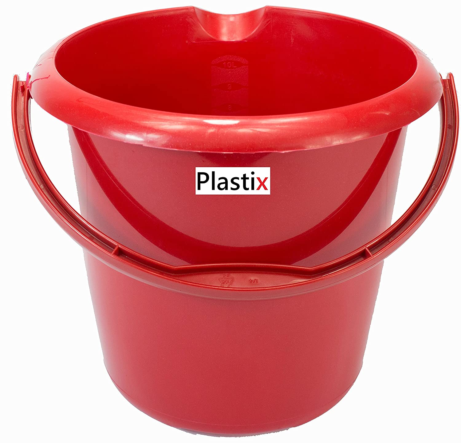 Plastix Strong Plastic Bucket with Handle Storage Waste Bin Container 5L 5 Litre (Graphite, 1)