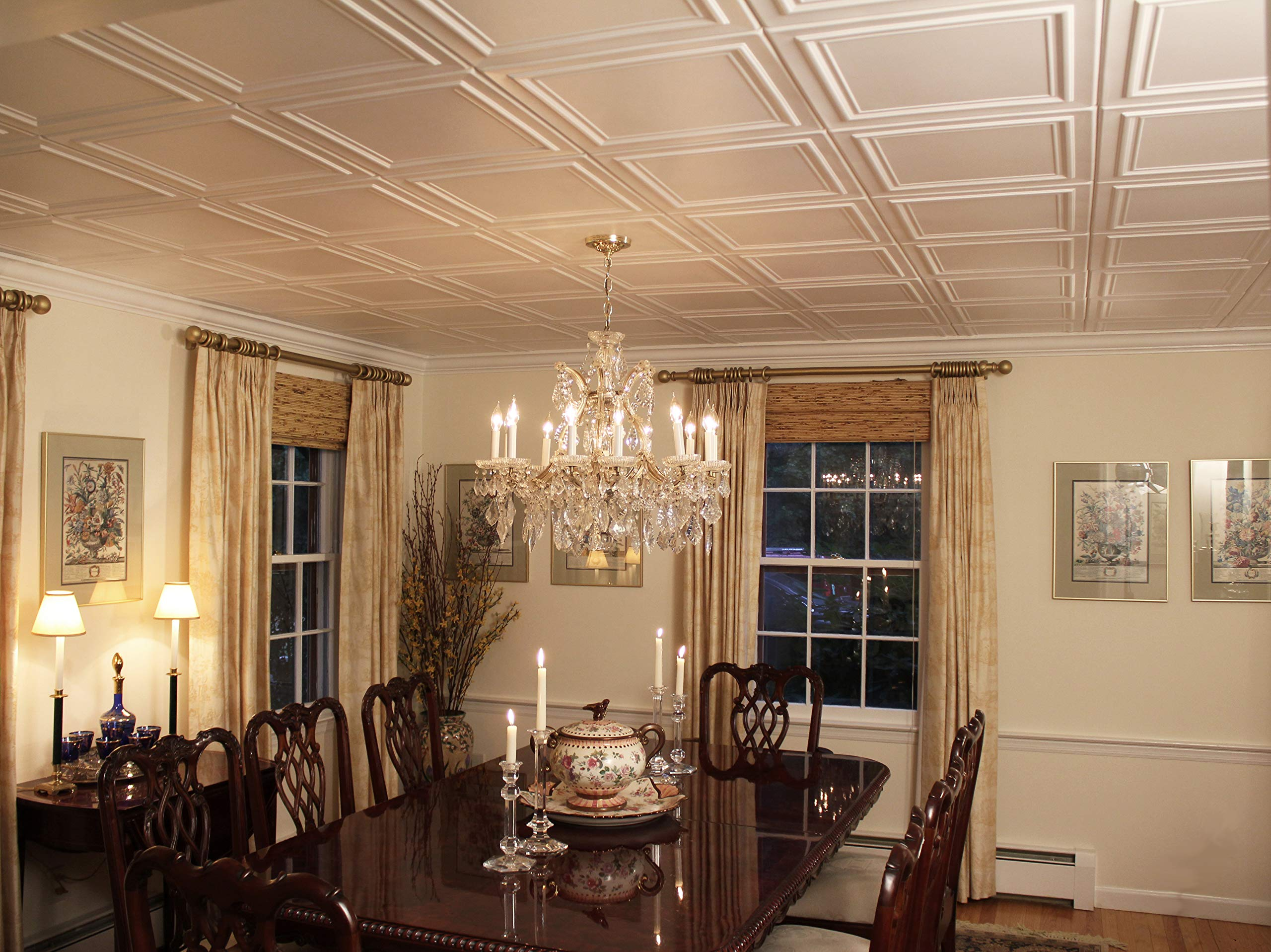 A la Maison Ceilings 1993 Line Art - Styrofoam Ceiling Tile (Package of 8 Tiles), Plain White by A La Maison Ceilings (Image #3)