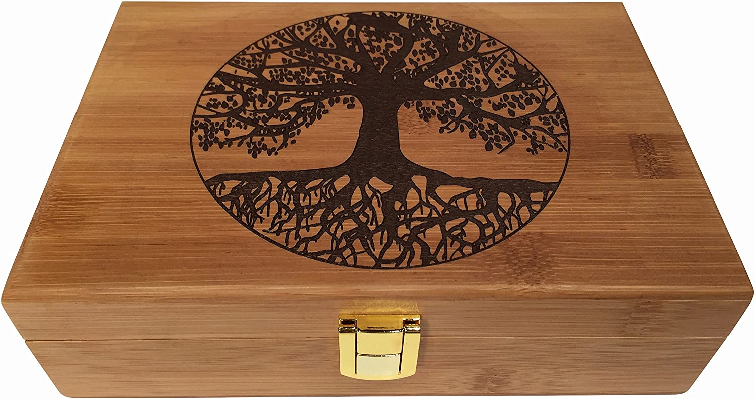 Tree of Life Wood Stash Box - Wooden Stash Boxes Engraved Tree Design - Wood box with hinged lid Decorative Wooden Boxes with Lid (Tree of Life)