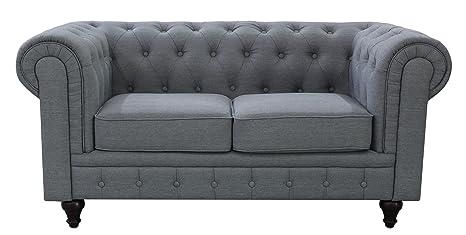 US Pride Furniture S5070-L Linen Fabric Chesterfield Sofa Set, Grey