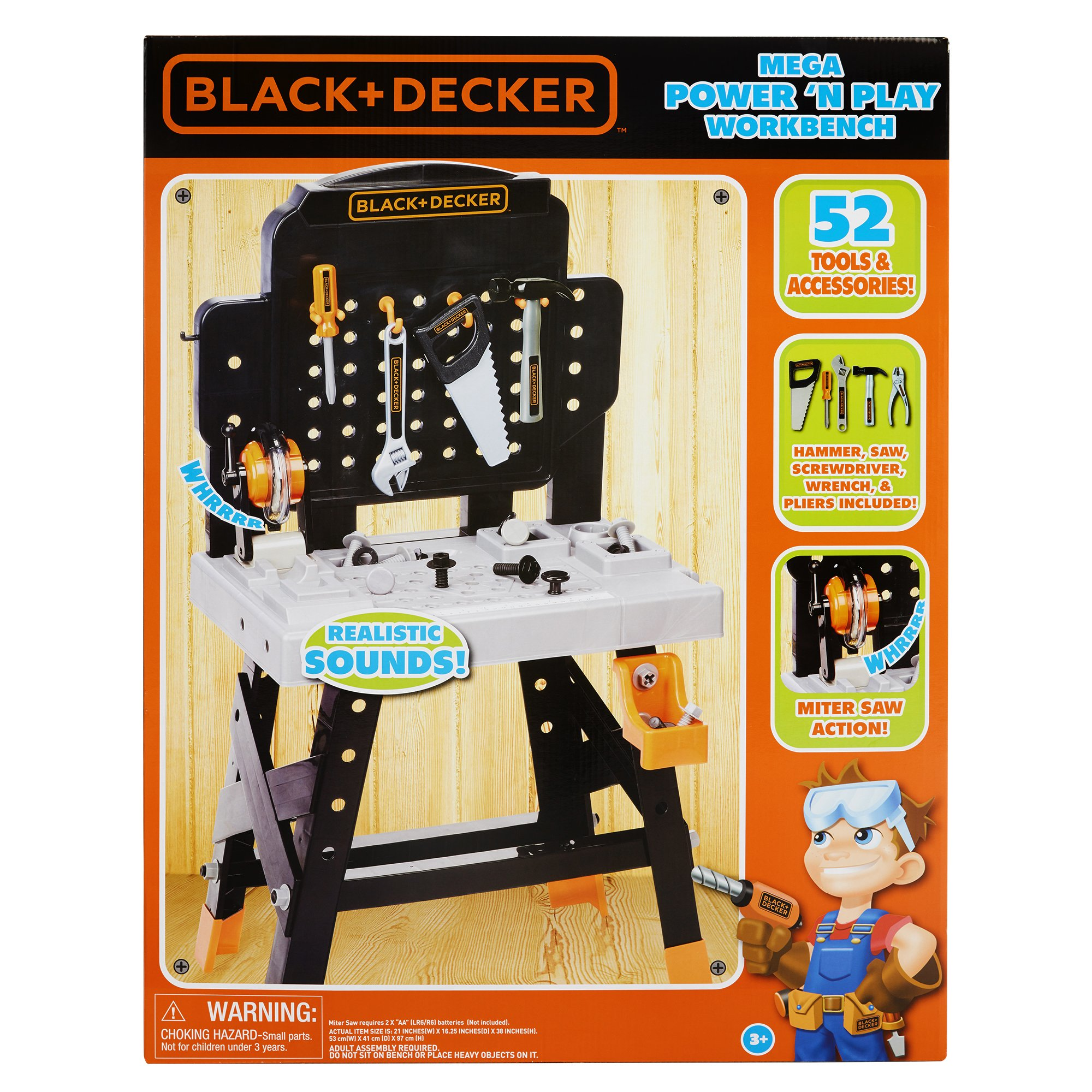 BLACK+DECKER 71382 Jr. Mega Power N' Play Workbench with Realistic Sounds! - 52 Tools & Accessories by BLACK+DECKER (Image #6)
