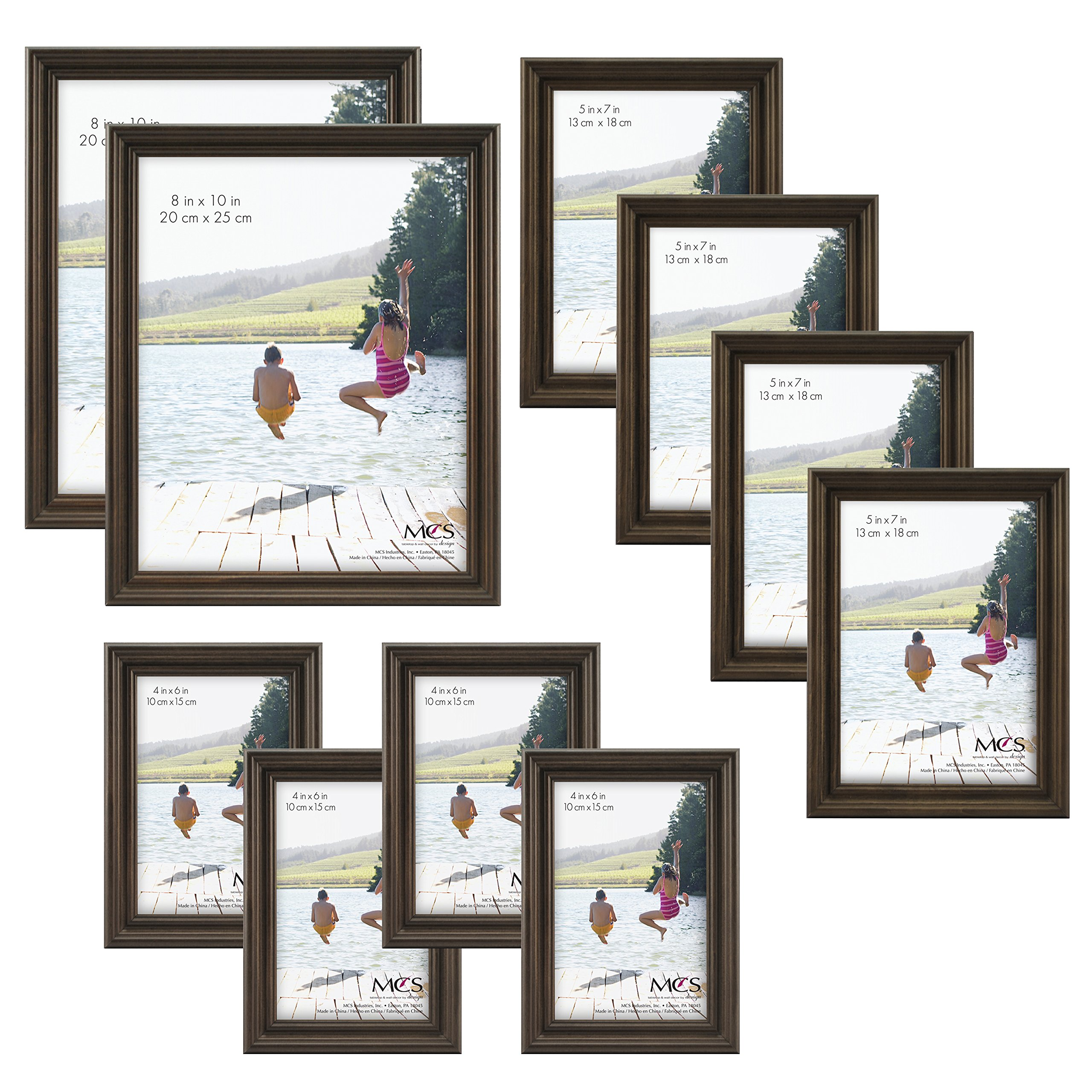 MCS  10pc Picture Frame Value Set - Two 8x10 in, Four 5x7 in, Four 4x6 in, Antique Pine Stain (65706) by MCS