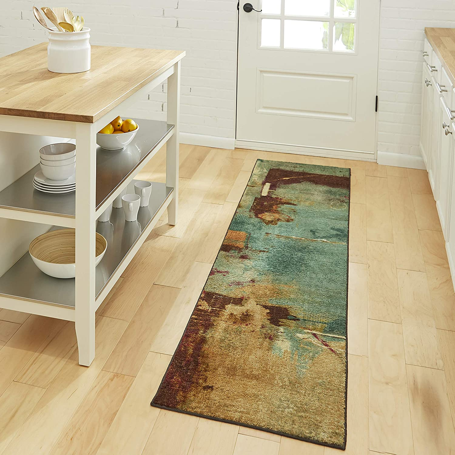 Mohawk Home Aqua Strata Fusion Abstract Area Rug (2'x8')