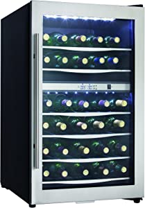 Danby Designer DWC040A3BSSDD 38 Bottle Dual Temperature Compact LED Light Refrigerator Wine Cooler, Stainless Steel