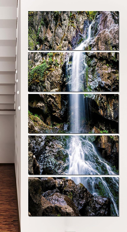 Designart Waterfall in Sofia Bulgaria-Landscape Art Print Canvas-28x60 5 Piece-PT9942-401V 28x60-5 Equal Panels