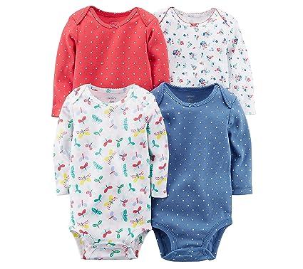 de2c14d3506b Amazon.com  Carter s Baby Girls  Long Sleeve 4-Pk. Floral Bodysuit ...