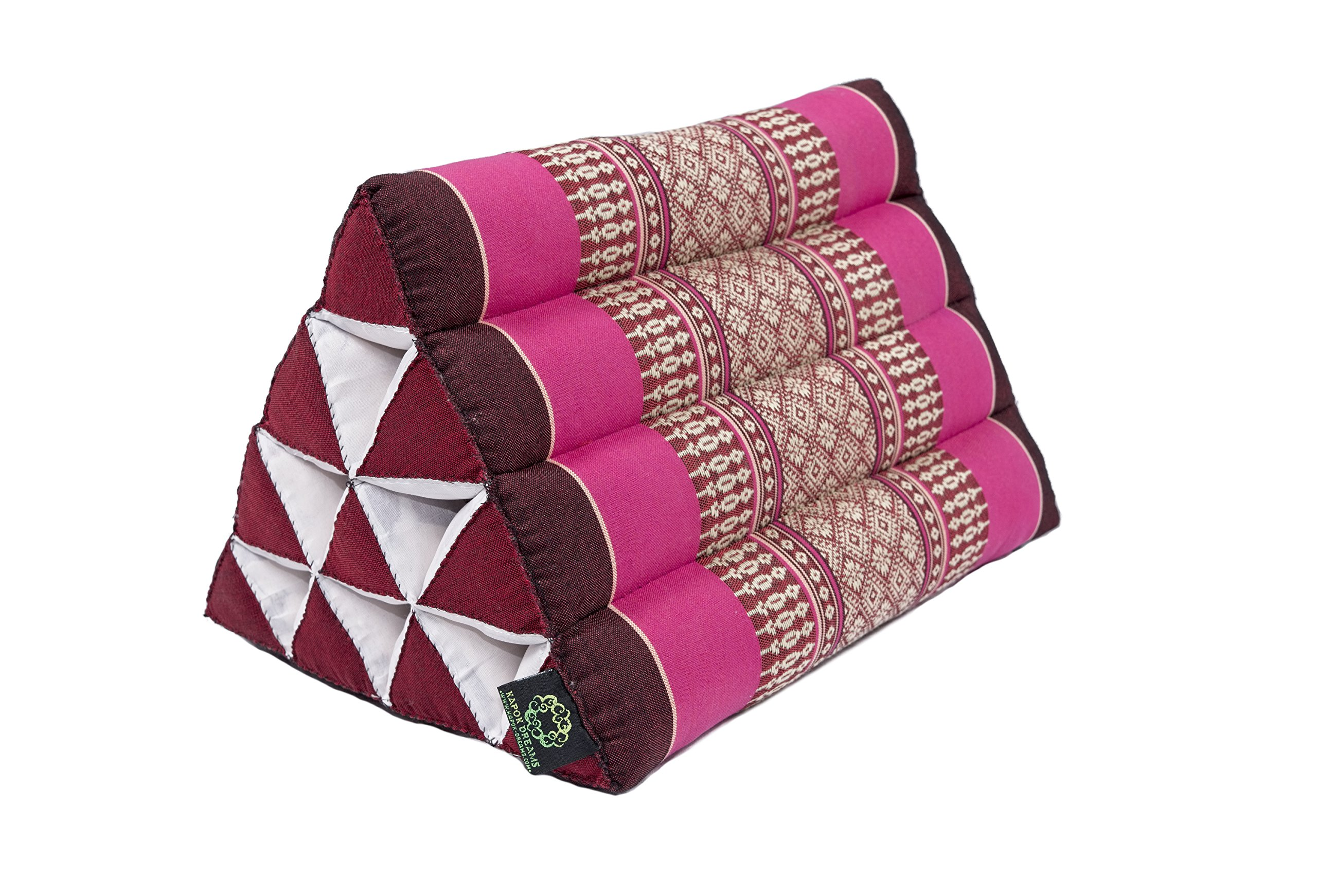 Kapok Dreams Thai Triangle Pillow 13''x8'', Triangular Cushion from Thailand (medium size), 100% Kapok-Stuffing, Berry Colors Red Pink