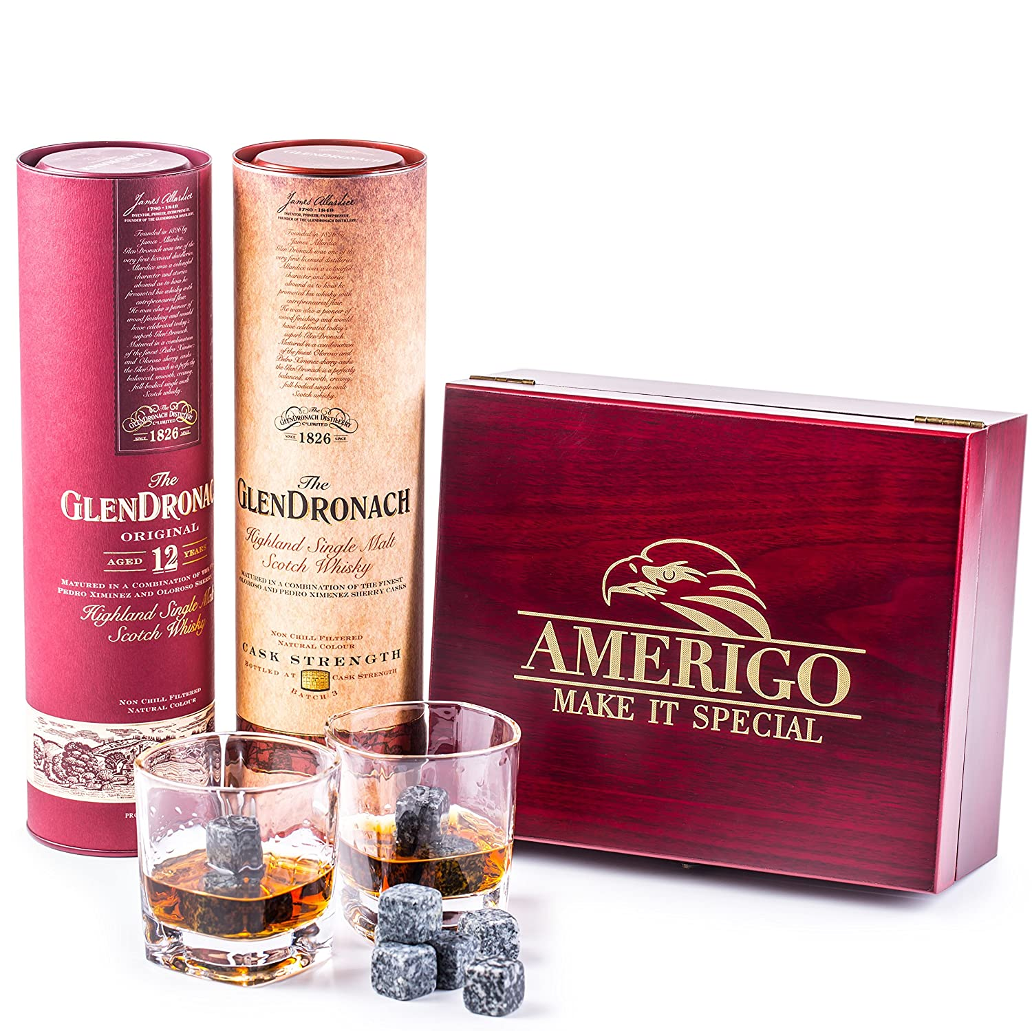 Impressive Whiskey Stones Gift Set with 2 Glasses - Be Different When Choosing a Gift - Luxury Handmade Box with 8 Granite Whiskey Rocks, Ice Tongs & Velvet Bag - Ice Cubes Reusable - Best Man Gift