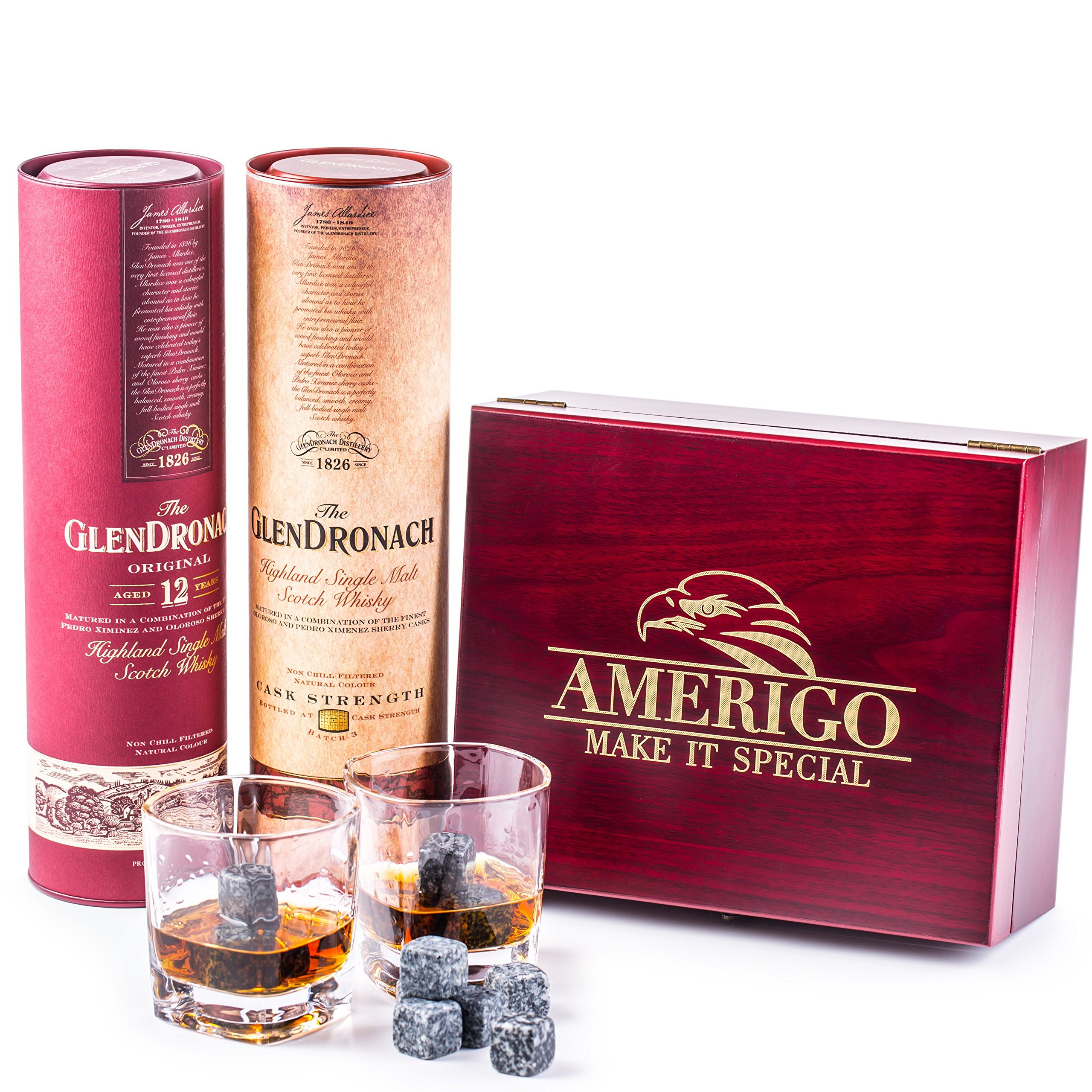 Impressive Whiskey Stones Gift Set with 2 Glasses - Be Different When Choosing a Gift - Luxury Handmade Box with 8 Granite Whiskey Rocks, Ice Tongs & Velvet Bag - Ice Cubes Reusable - Best Man Gift by Amerigo (Image #1)
