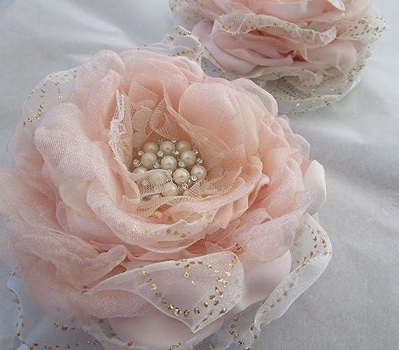 Amazon blush fabric flower blush and gold organza flower blush fabric flower blush and gold organza flower bridal or bridesmaids hair flower mightylinksfo