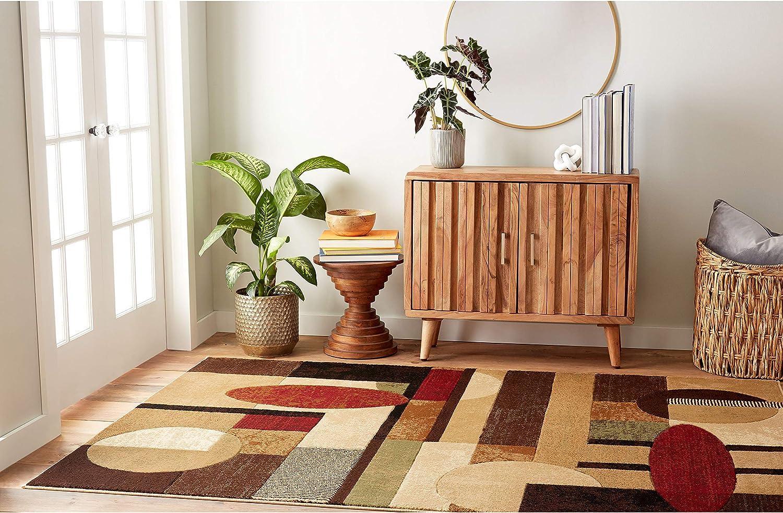 "Home Dynamix Tribeca Jasmine Modern Area Rug, Abstract Brown/Green 39""x55"""
