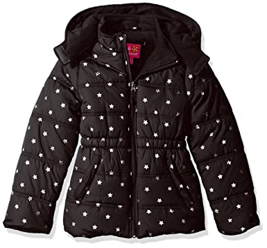 46b0d0976 Amazon.com  Pink Platinum Girls  Printed Foil Star Puffer Jacket ...