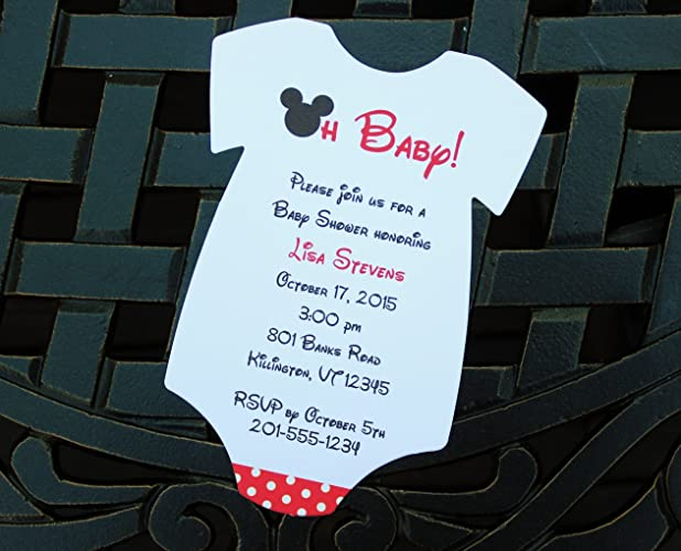 Set Of 10 Mickey Mouse Baby Shower Invitations   All Wording Customized