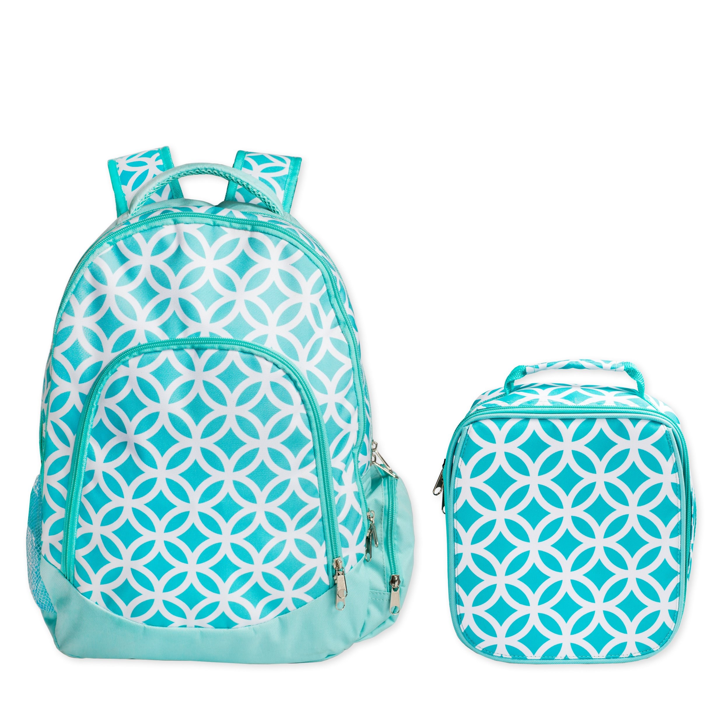 Reinforced Design Water Resistant Backpack and Lunch Bag Set (Aqua Sadie) by WB