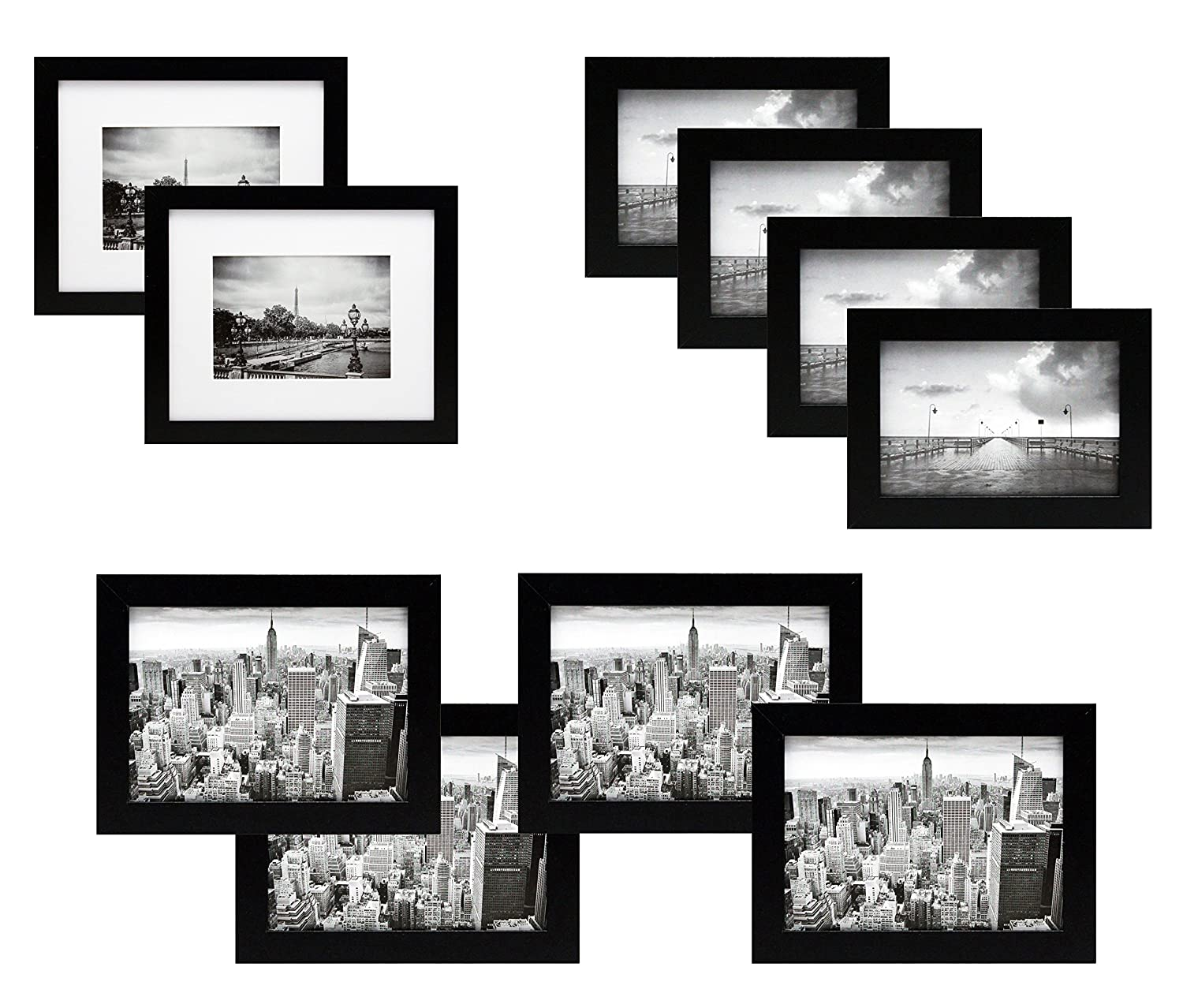 10 Piece Black Gallery Picture Frame Gift Set - Two 8x10 Four 5x7 ...