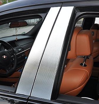 StickandShine - Lote de 6 embellecedores de carbono para las puertas del coche (pilar B), color negro: Amazon.es: Coche y moto