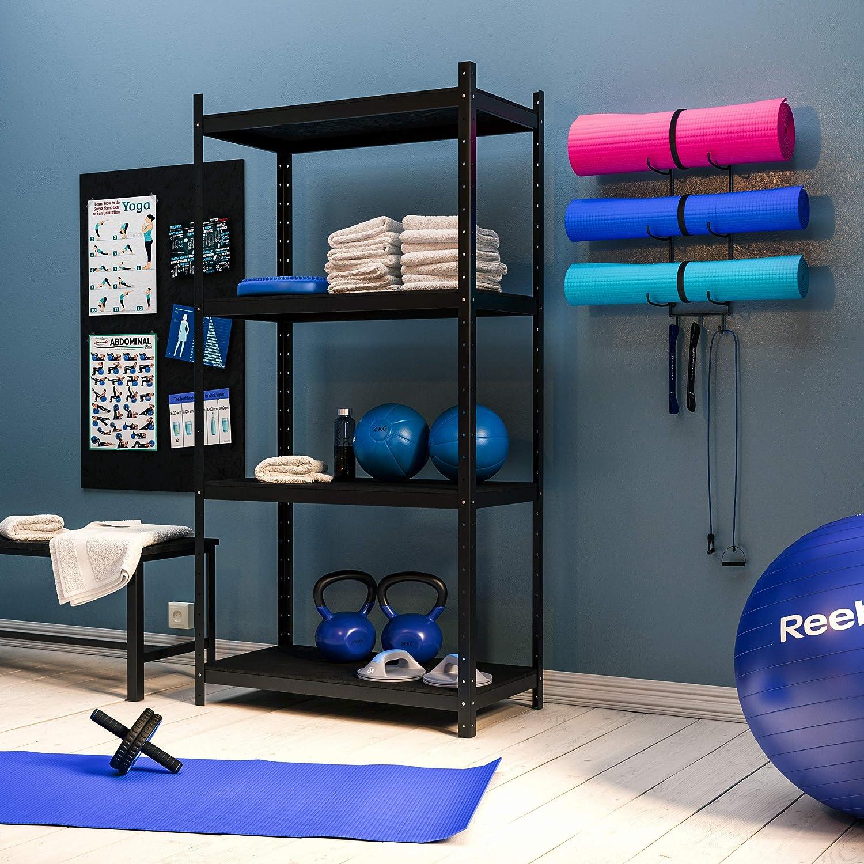 Wallniture Guru Wall Mount Yoga Mat Foam Roller and Towel Rack