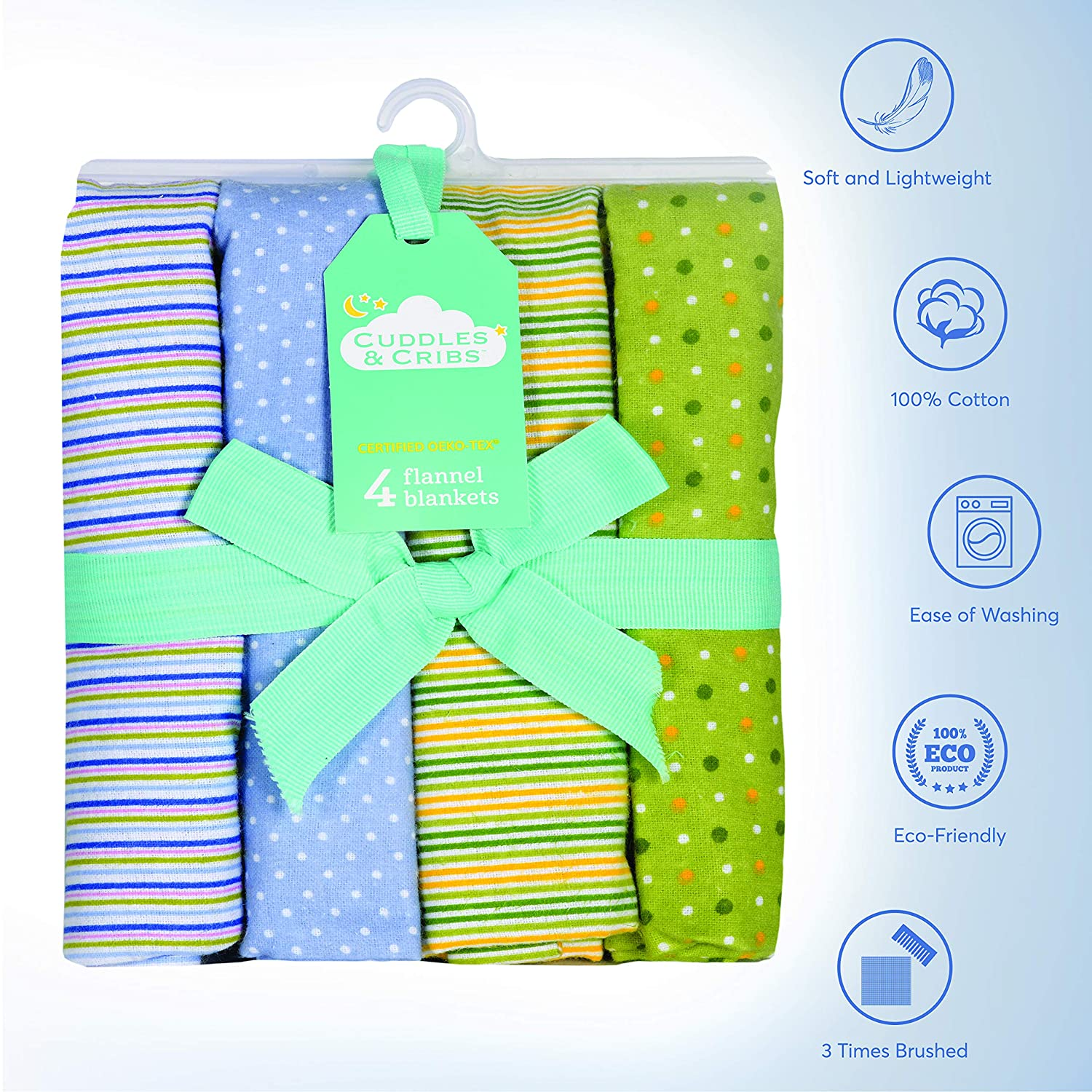 Cuddles /& Cribs Cotton Flannel Receiving Blankets Pack of 4