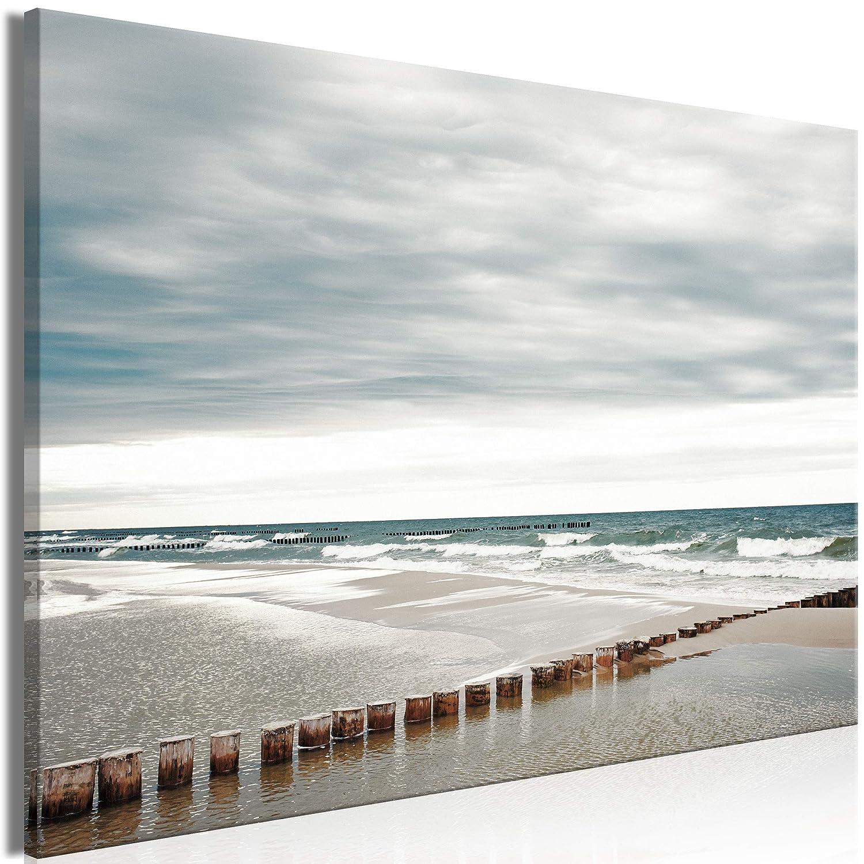 decomonkey Akustikbild Strand Meer 120x80 cm 1 Teilig Bilder Leinwandbilder Wandbilder XXL Schallschlucker Schallschutz Akustikdämmung Wandbild Deko leise Landschaft
