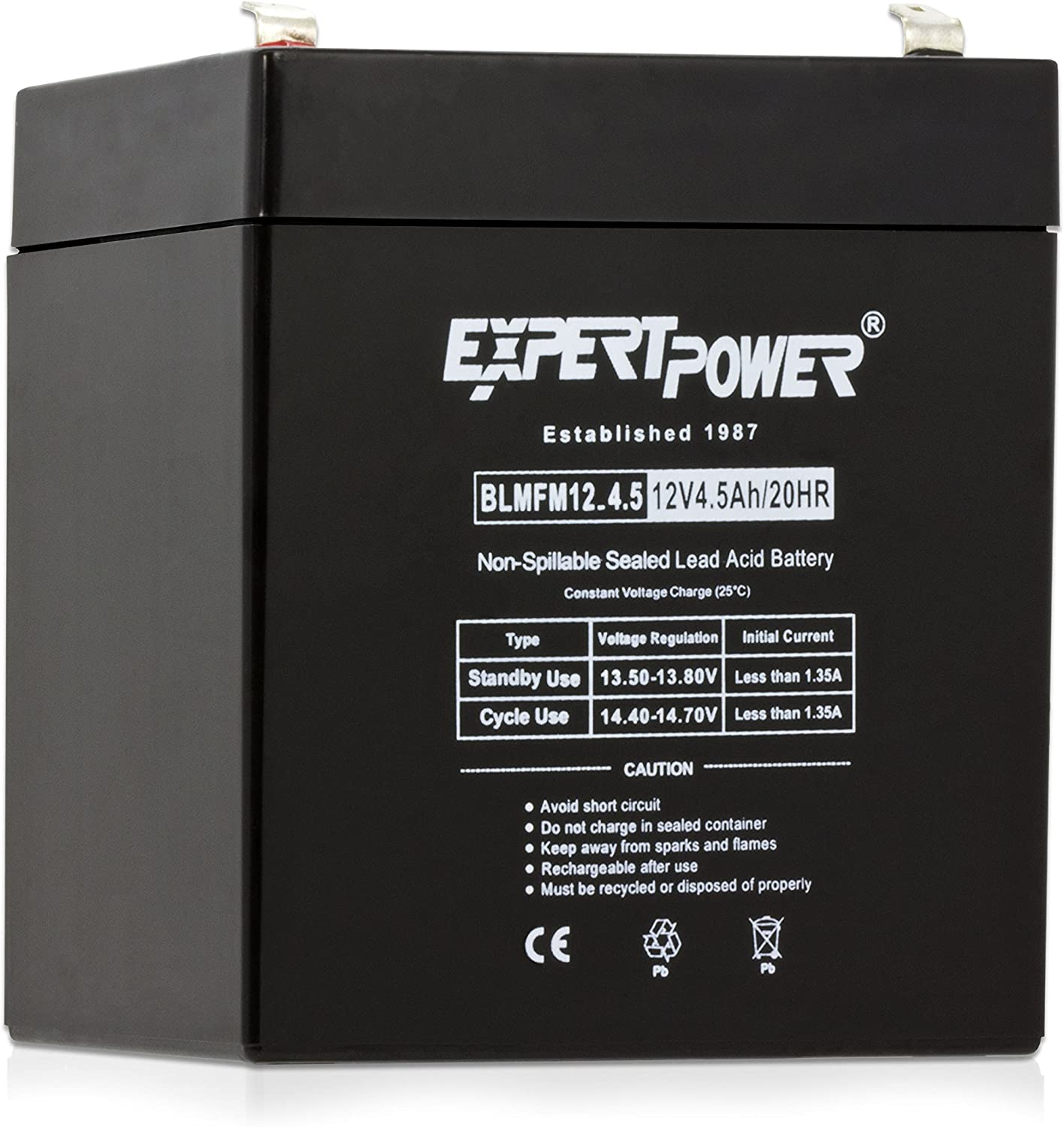 ExpertPower EXP1245Home Alarm Security Battery ReplacementBlack12V 4.5AHAbsorbent Glass Mat1 pack