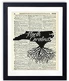 North Carolina Home Grown Upcycled Vintage Dictionary Art Print 8x10