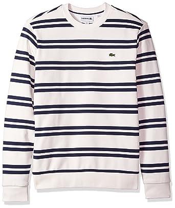 c30835228 Lacoste Men s Non Brushed Fleece Striped Sweatshirt at Amazon Men s ...