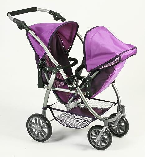 Amazon.es: Bayer Chic 2000 nbsp;689 28 Silla infantil doble Tandem Buggy Vario, purpur Checker, color lila: Juguetes y juegos