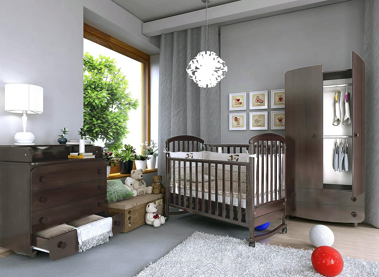 Babyzimmer Prague Art.-Nr.: 09.03; 22.03; 27.1.03, Kinderzimmer Komplett Set 3-tlg., in Walnuss, Kleiderschrank B: 90 cm, Wickelkommode B: 90 cm, Babybett Liegefläche 60 x 120 cm