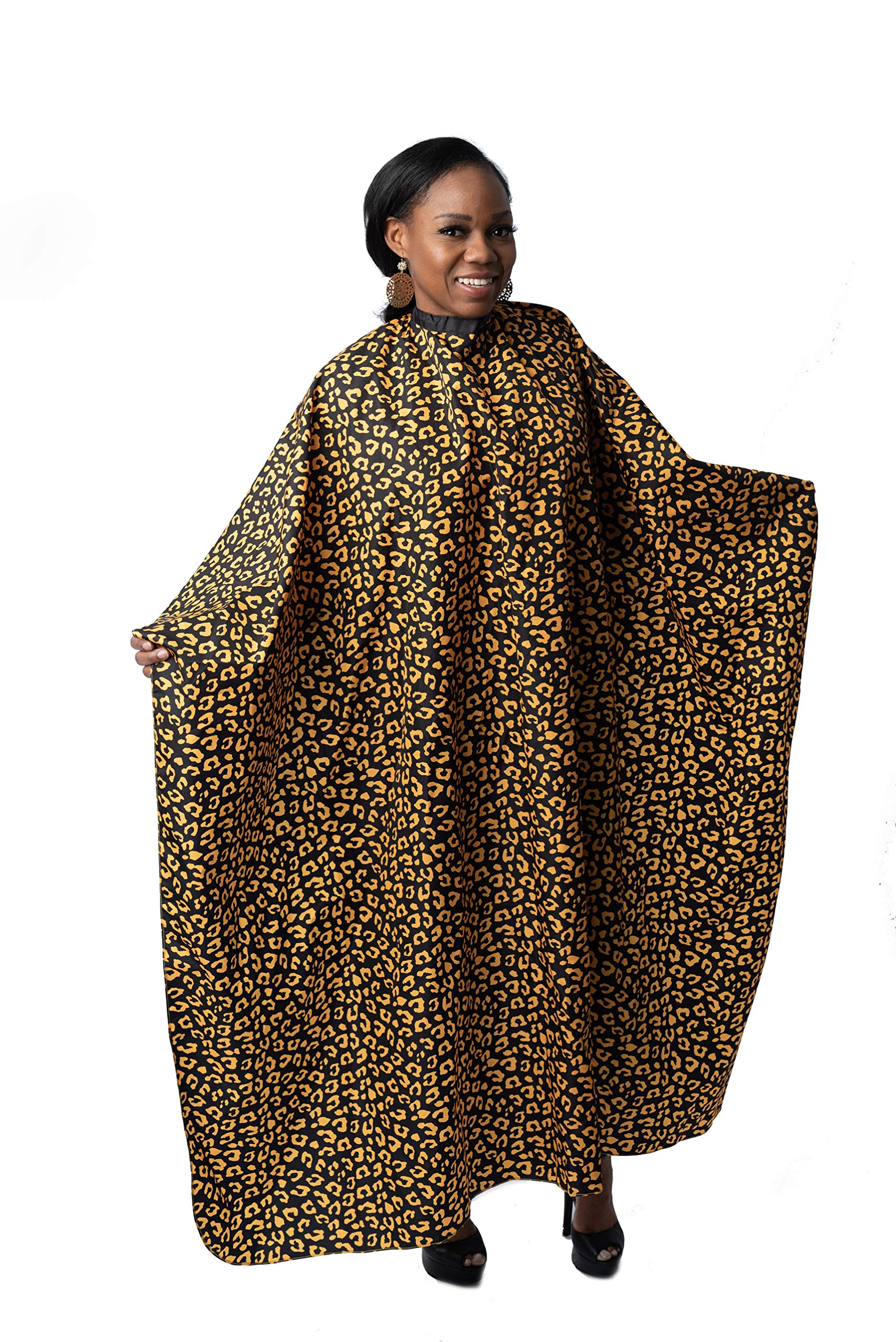 Capes By Sheena Large 66'' L x 53.5'' W Unique Design Salon Cape, Large Barber Supplies for Hair-Cutting Animal Print Capes (Yellow and Black) by Capes By Sheena