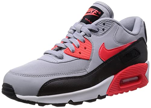 Nike Womens Air Max 90 Essential Wolf Grey/Infrared/Black/White Running Shoe