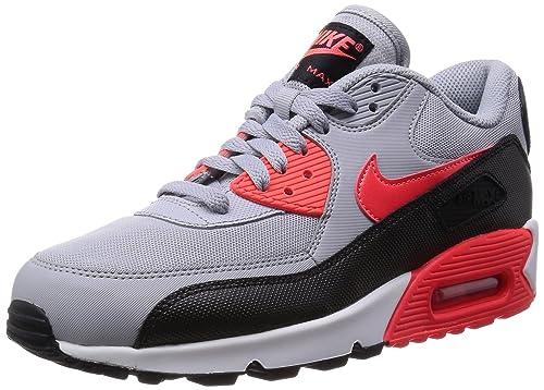 Nike Womens Air Max 90 Essential Wolf Grey/Infrared/Black/White Running Shoe