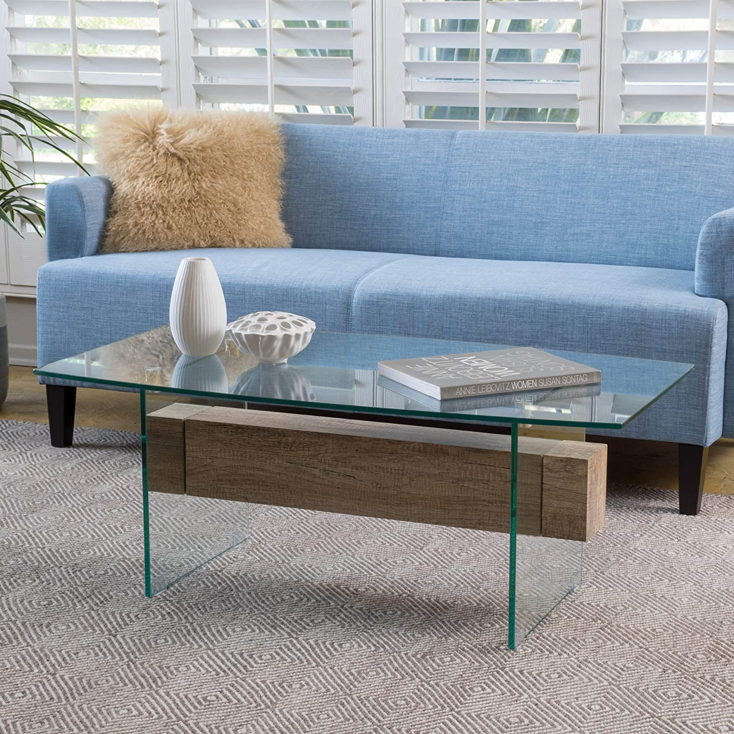 Amazon.com  Wilmington Tempered Glass and Wood Coffee Table  Kitchen    Dining 6b69451a65