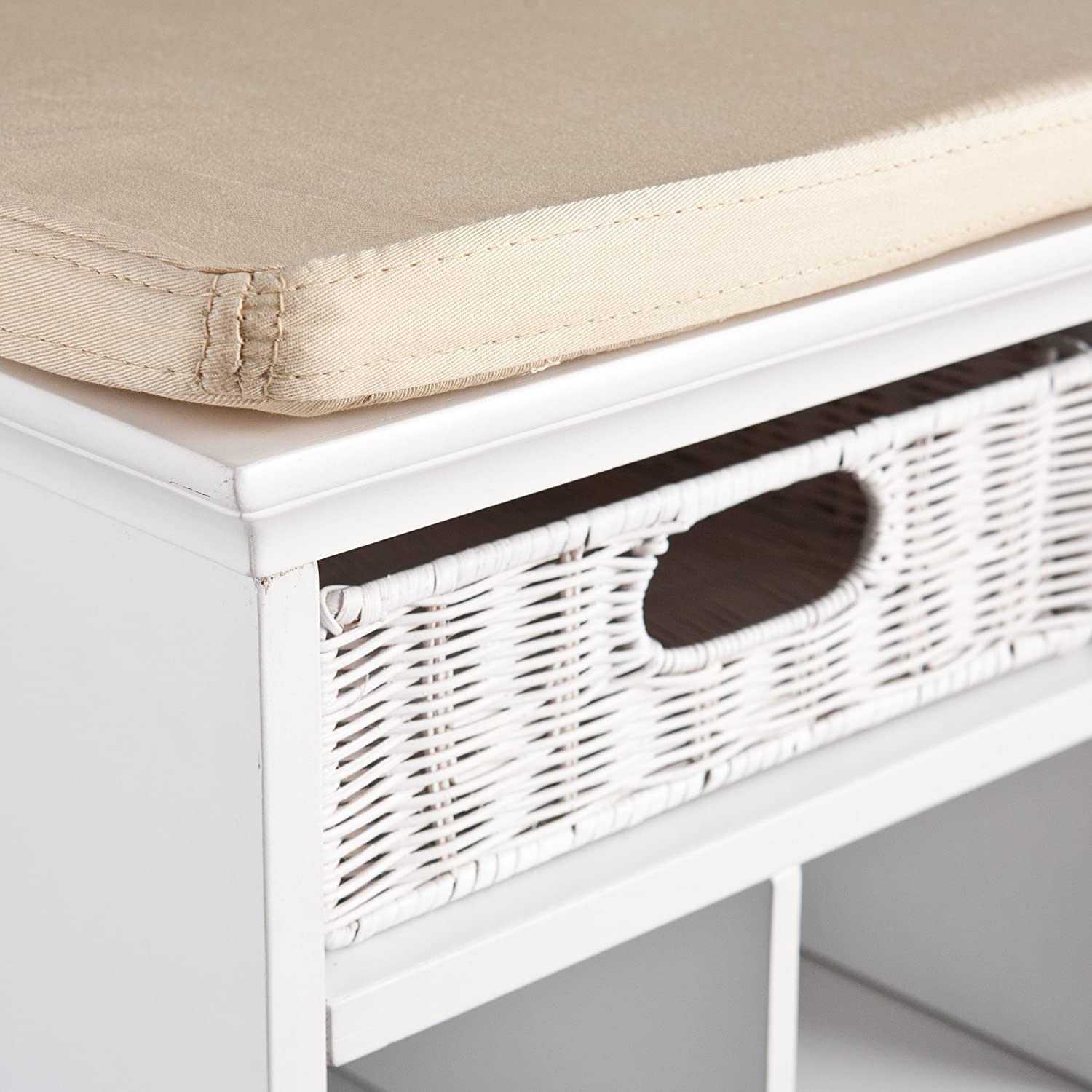 Chelmsford Entryway Storage Bench White Finish Shoe Cubbies w// Fixed Shelves
