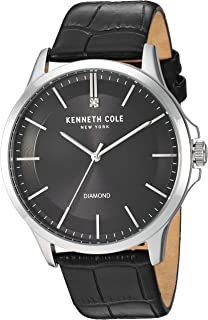 98d190553b1 Kenneth Cole New York Men s Diamond Analog Quartz Stainless Steel and  Genuine leather Strap Casual Watch