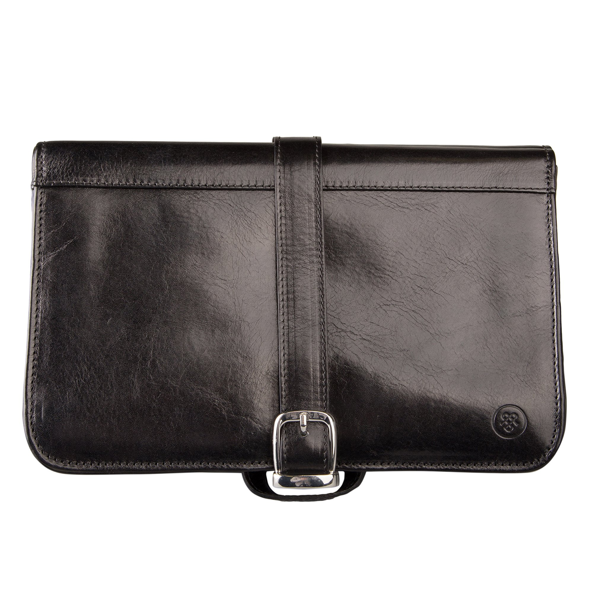 Maxwell Scott® Luxury Black Leather Toiletry Case (The Pratello) - One Size by Maxwell Scott Bags