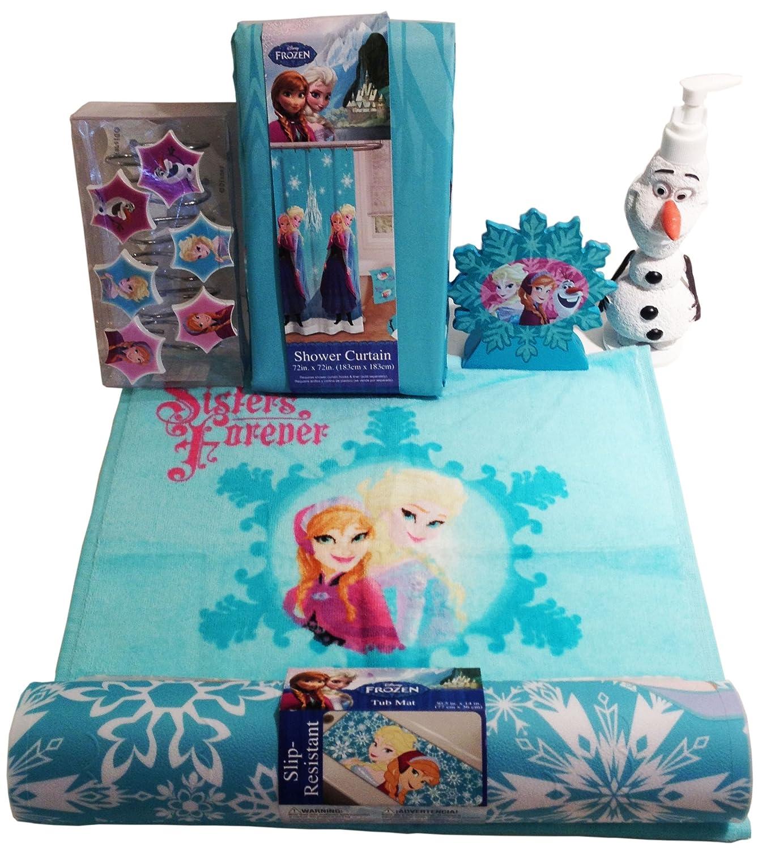 Disney Frozen Anna, Elsa, Olaf Bathroom Accessories Bundle Of 7 Items!